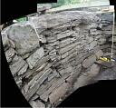 Panorama major fracture in SE wall of gallery  by AOC Archaeology  © AOC Archaeology